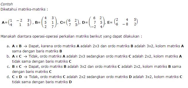 contoh soal matematika perkalian matriks