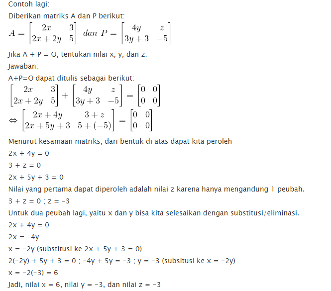 contoh soal rumus penjumlahan matriks matematika