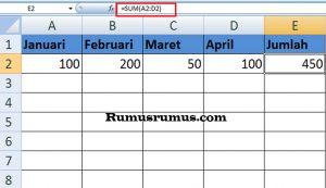 Rumus Penjumlahan Di Excel2