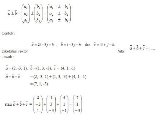 rumus penjumlahan dan pengurangan vektor
