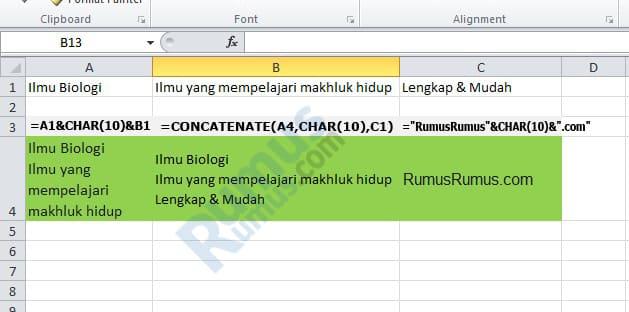 rumus wrap text