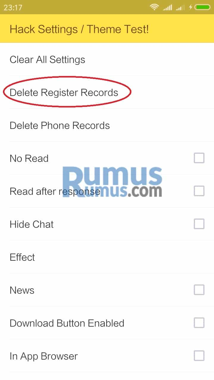 Menghapus Register Record